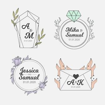 Minimalist wedding monograms in pastel colors set