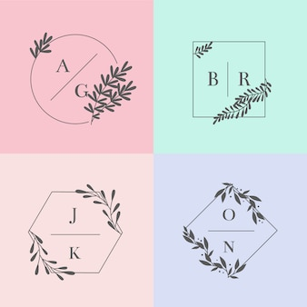 Minimalist wedding monograms in pastel colors set
