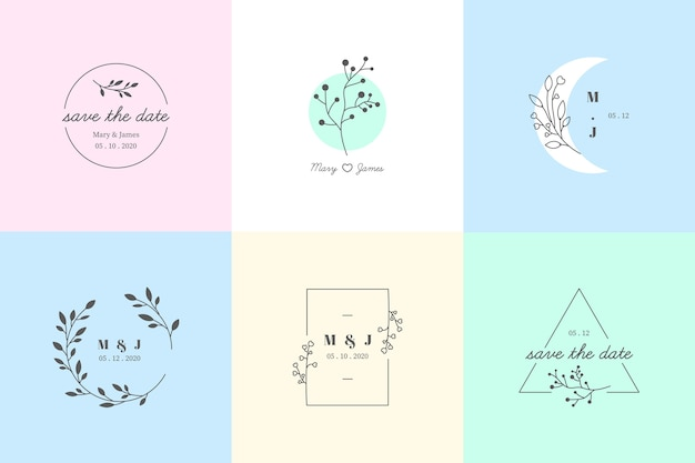 Minimalist wedding monograms in pastel colors