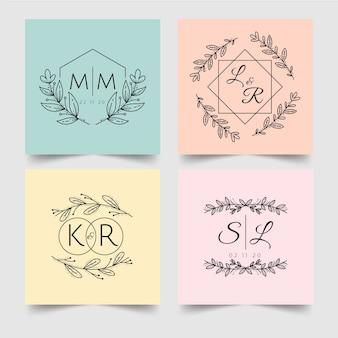 Minimalist wedding monograms in pastel colors