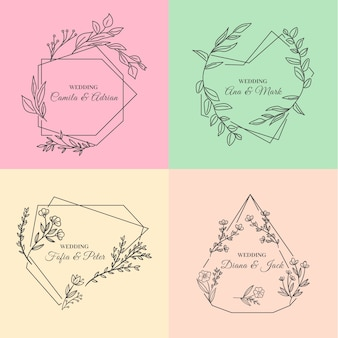 Minimalist wedding monograms in pastel colours