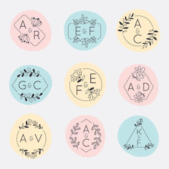 Minimalist wedding monograms set in pastel colors