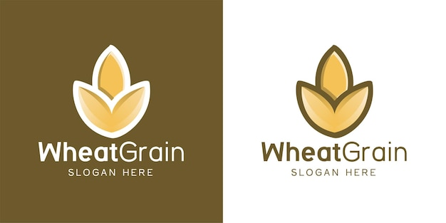 Minimalist wheat, grain agriculture logo design inspiration