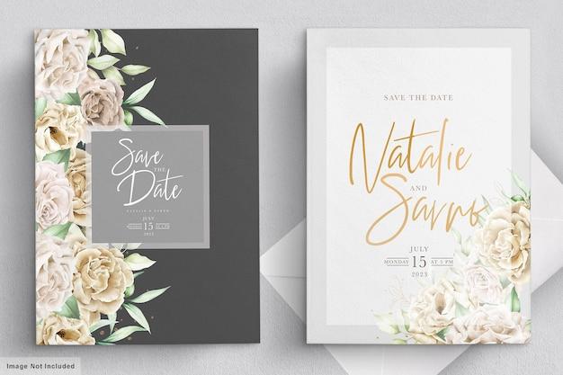 Минималистский набор свадебных открыток из белых роз