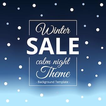 Minimalist winter dark theme sale background template