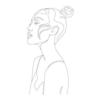 Minimalist woman face one line art illustration