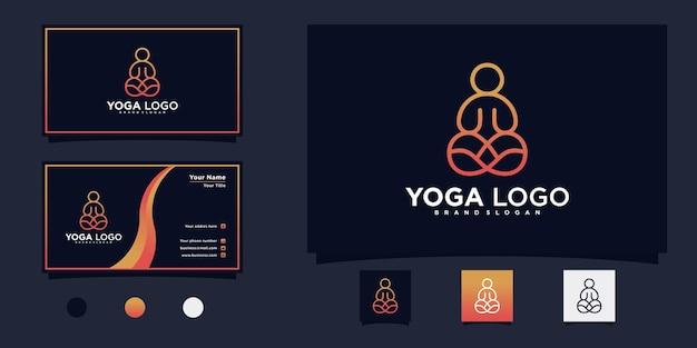 創造的なラインアートスタイルのプレミアムベクトルを備えたミニマリストのヨガ瞑想のロゴデザイン