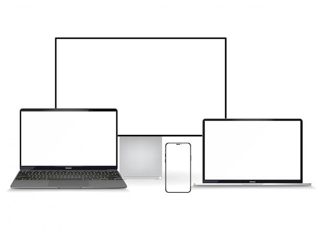 Минималистичный набор 3d изометрических иллюстраций устройства. смартфон, ноутбук, планшет, телевизор в перспективе. вид сбоку и сверху. универсальное устройство. шаблон для инфографики или презентации