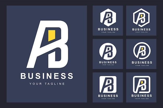 いくつかのバージョンのミニマルなab文字のロゴ
