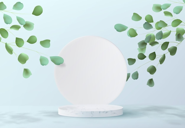 Minimalistic abstract background design with marble pedestal. a realistic image of an empty cylindrical podium for product demonstration with tree leaf decorations.