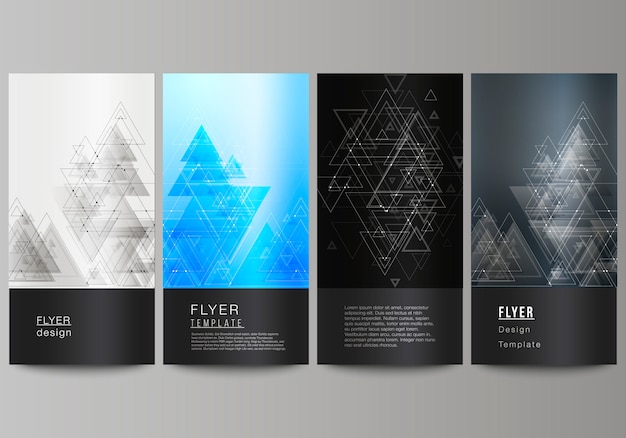 Minimalistic abstract editable layout of four modern vertical banner template
