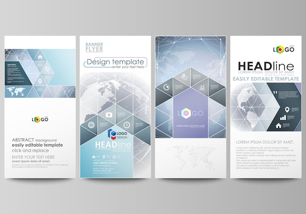 Minimalistic abstract illustration the layout of four modern vertical banners, flyers business templates. abstract futuristic network shapes. high tech .