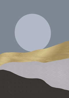 Minimalistic abstract japanese themed landscape background