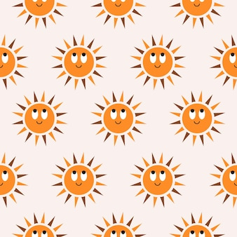 Minimalistic abstract seamless pattern with cute smiling sun on pastel background bohemian pattern