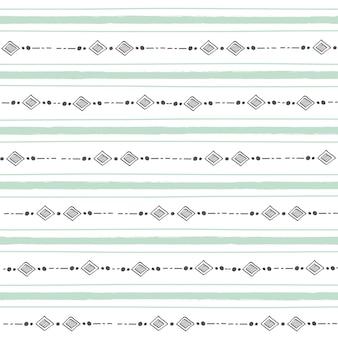 パステルカラーの背景に幾何学的な形をしたミニマルな抽象的なシームレスパターン。ボヘミアンパターン