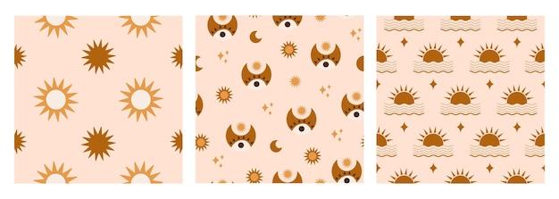 Минималистичный абстрактный бесшовный паттерн с геометрическими звездами солнце глаза волны на пастельном фоне