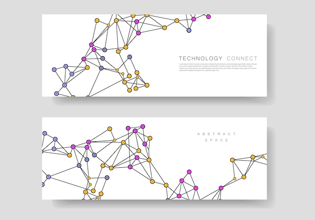 Minimalistic abstract technology connection design and business banner templates with lines and dots