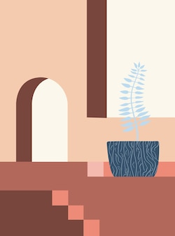 Minimalistic architecture abstract geometric shapes staircase arch botanical elements minimalist
