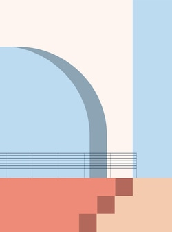 Minimalistic architecture abstract geometric shapes staircase arch elements  minimalist poster