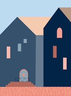미니멀리즘 건축 추상적 인 기하학적 모양 계단 아치 주택 미니멀리스트 스타일