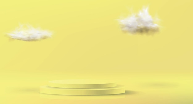 Minimalistic background in pastel yellow colors.  empty podium to showcase a cosmetic product.