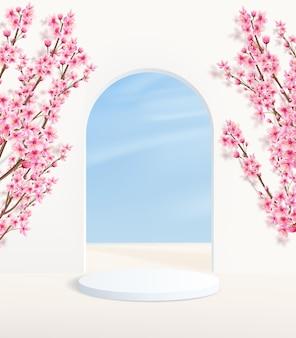 夏のアーチと空の壁の背景に台座のあるミニマルな背景。装飾的なピンクの花が飾られた製品展示プラットフォーム。
