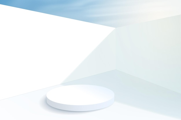 Minimalistic background with a cylindrical empty pedestal inside the walls. platform for displaying a product in summer on a sunny day.