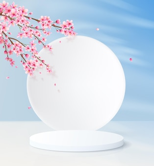 Minimalistic background with a cylindrical empty pedestal and a round wall. product display platform with decorative pink flowers and blue sky.