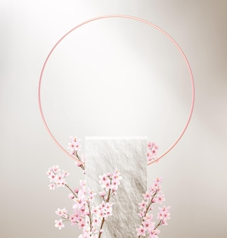 Minimalistic background with empty stone pedestal for product display and pink flowers.