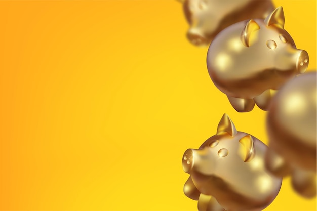 Minimalistic background with golden piggy banks