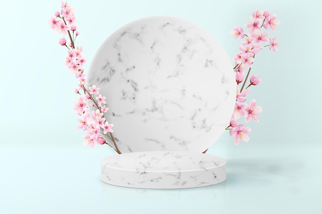 Minimalistic background with japanese sakura in pastel colors. realistic empty marble pedestal for product display.