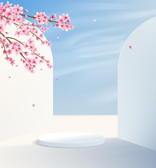 Minimalistic background with a pedestal against the backdrop of white walls and summer sky. product display platform with decorative pink flowers.