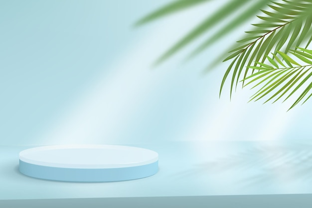 Minimalistic background with podium for product demonstration. abstract scene in blue tones with tropical leaves on the background.