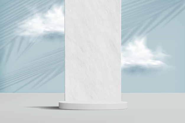 Minimalistic background with stone wall, clouds and empty podium for product demonstration.