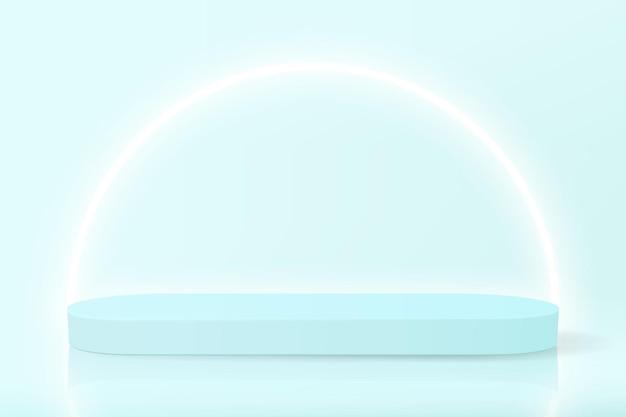 パステルカラーのネオン照明を備えた製品ショーケース用の空の表彰台を備えたミニマルなバナー
