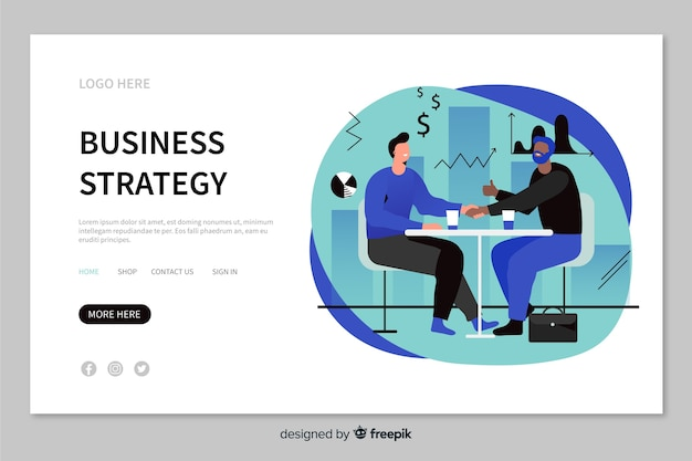 Minimalistic business strategy landing page with characters discussing