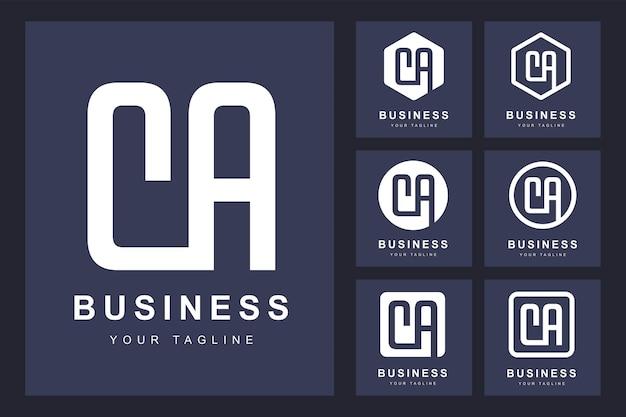 いくつかのバージョンのミニマルなca文字のロゴ
