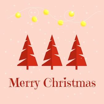 クリスマスツリーとミニマルなクリスマスカード。ベクトルイラスト。