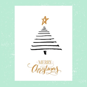 Minimalistic christmas greeting card design simple spruce tree and calligraphy merry christmas