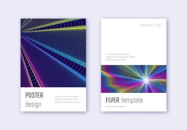 ミニマルなカバーデザインテンプレートセット。濃い青の背景に虹の抽象的な線。エレガントなカバーデザイン。珍しいカタログ、ポスター、本のテンプレートなど。