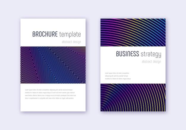 Набор шаблонов дизайна минималистичный обложки. абстрактные линии радуги