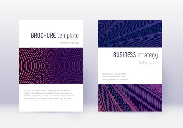 Набор шаблонов дизайна минималистичный обложки. фиолетовые абстрактные линии