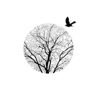 円の中にある冬の木のミニマルなトリミング画像