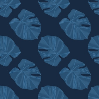 Minimalistic dark monstera silhouettes seamless doodle pattern. navy blue tones palm foliage