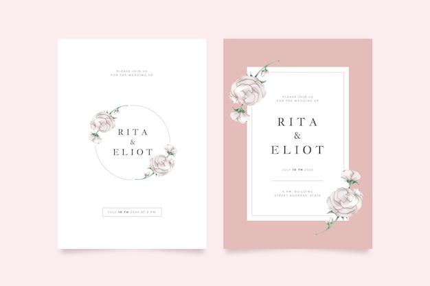 최소한의 우아한 꽃 결혼식 초대장 템플릿