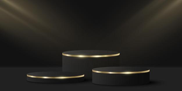 あなたの製品を見せるための光の効果を持つミニマルでエレガントな表彰台。黒の背景に3dシリンダー。豪華なプラットフォームまたはステージ。ファッションプレゼンテーションのモックアップ。ベクター