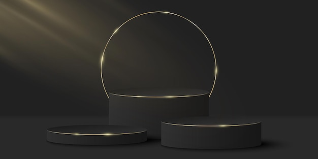 Minimalistic elegant stage. 3d black cylinder on a dark. platform or podium with golden ring.