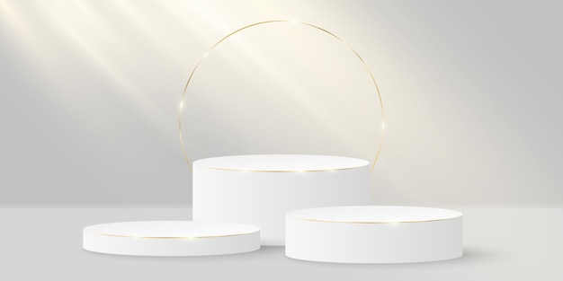 Minimalistic elegant stage. 3d cylinder with gold on a white. platform or podium with incident light.