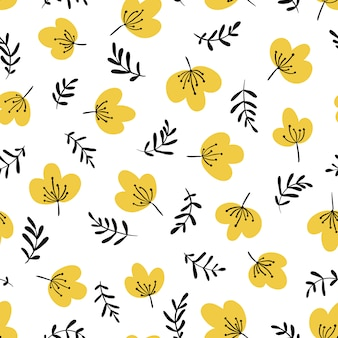 Minimalistic floral seamless pattern in simple cartoon hand-drawn style. illustration of flowers and herbs