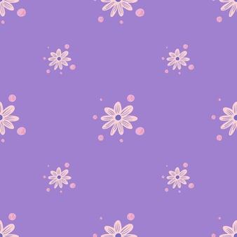 ピンクのカモミールの小さな花の飾りとミニマルな花のシームレスなパターン。薄紫の背景。紙や布のテクスチャを包むためのグラフィックデザイン。ベクトルイラスト。